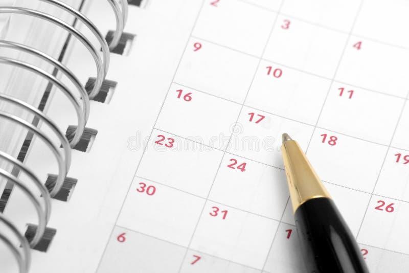 被开张的日程表 免版税库存图片