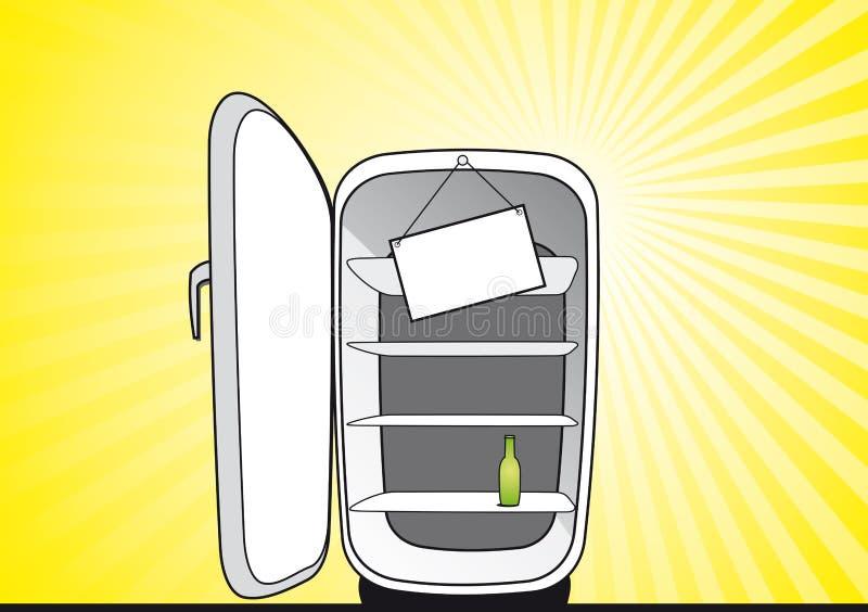 被开张的空的冰箱 库存例证