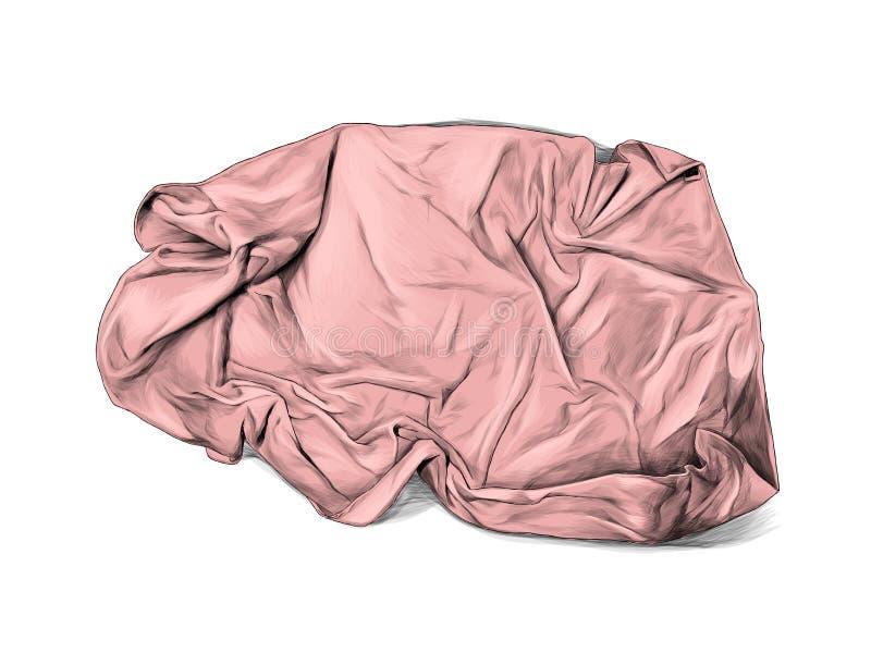 被弄皱的毛巾或毯子谎言顶视图许多折叠 皇族释放例证
