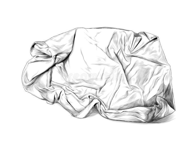 被弄皱的毛巾或毯子谎言顶视图许多折叠 库存例证