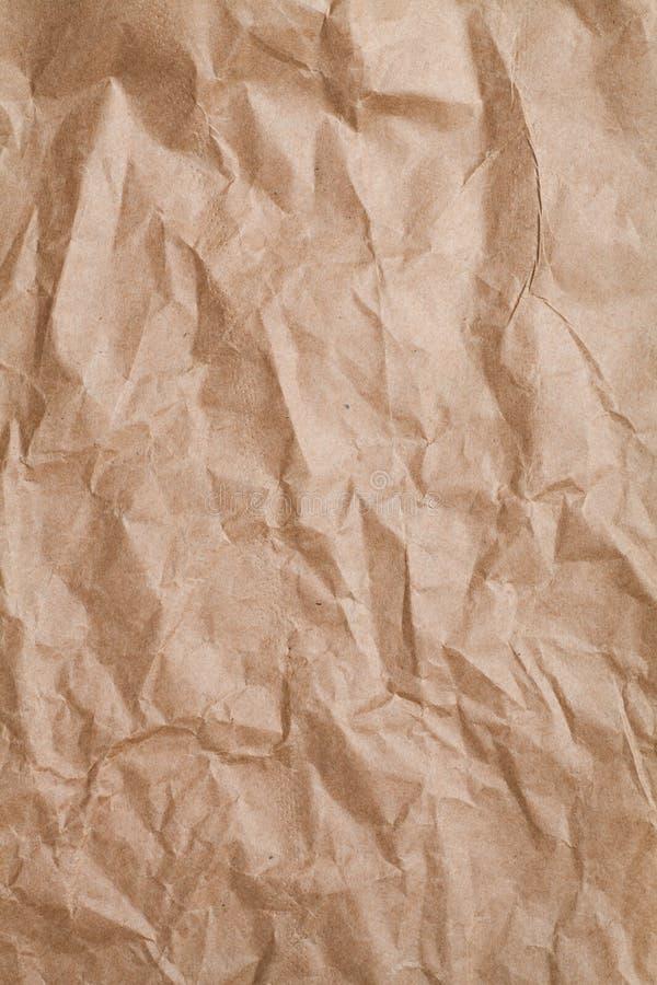 被弄皱的牛皮纸纹理 库存图片