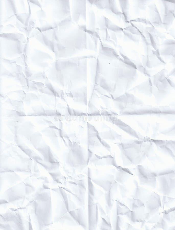 被弄皱的白皮书纹理背景 免版税库存图片