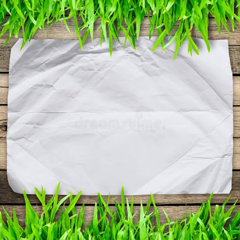被弄皱的纸在与木头的绿草 免版税库存照片