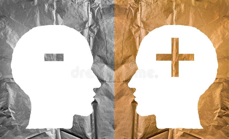 被弄皱的纸形状作为人头和正和减号 皇族释放例证