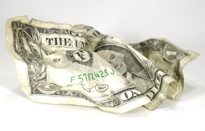 被弄皱的美元 库存照片