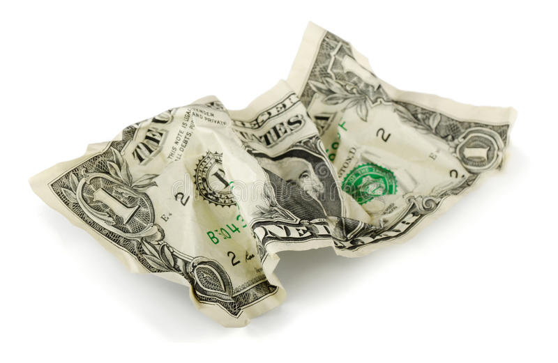 被弄皱的美元 免版税库存照片