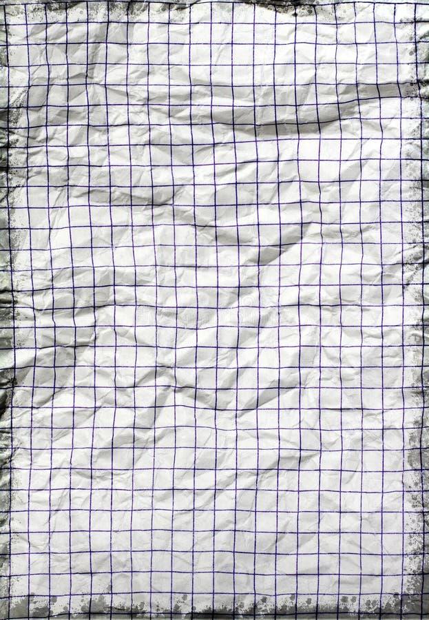 被弄皱的老纸学校 免版税库存照片