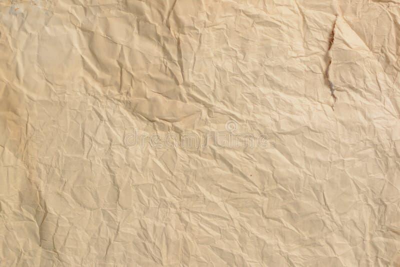 被弄皱的老纸背景和纹理 免版税库存照片