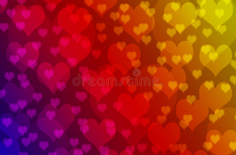 被弄脏的五颜六色的心脏bokeh墙纸和背景 库存图片