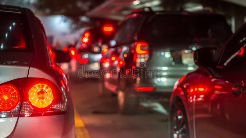 被弄脏的交通堵塞和刹车灯在曼谷,泰国甚而 免版税库存照片
