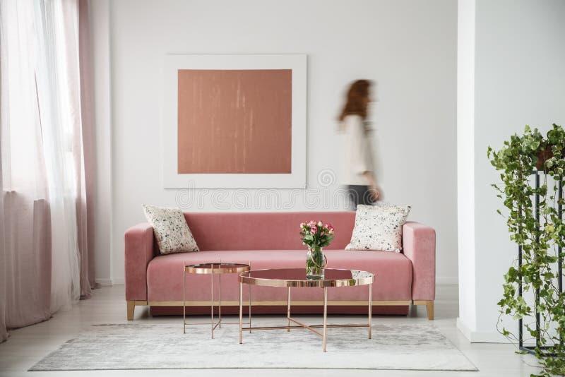 被弄脏的人对有绘画的墙壁在与植物和millenial桃红色长沙发的白色平的内部 实际照片 库存图片