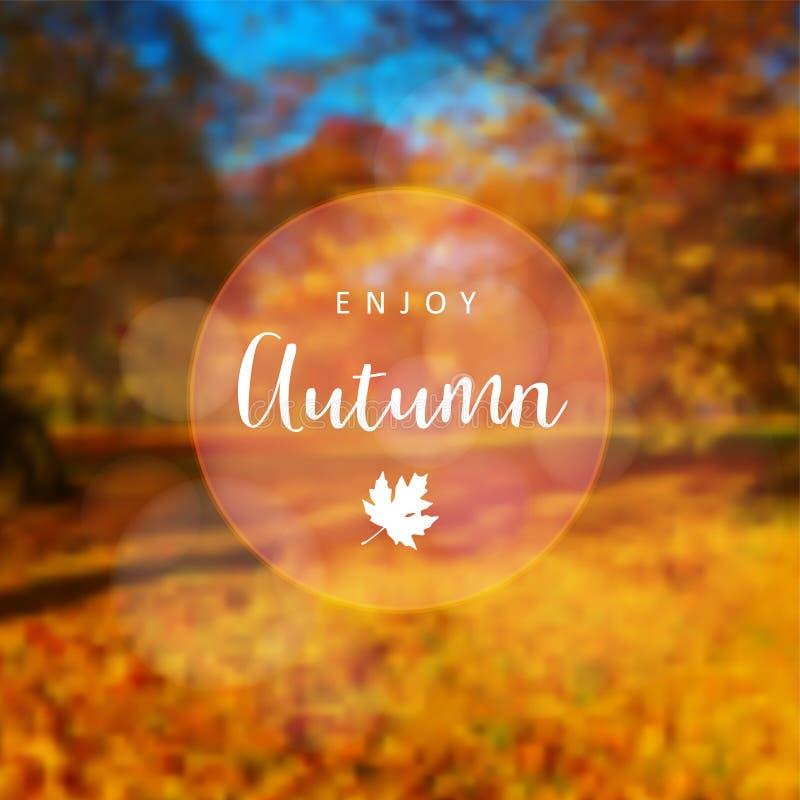 被弄脏的减速火箭的卡片,与五颜六色的秋天,秋天森林室外概念的邀请 传染媒介例证背景,网 向量例证