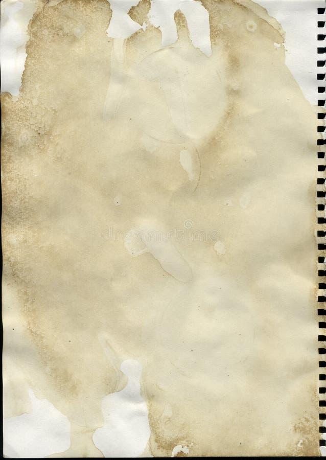 被弄脏的咖啡纸张 免版税库存照片
