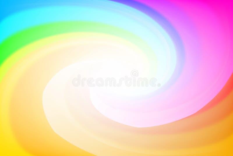 被弄脏的彩虹上色背景的转弯波浪五颜六色的作用,在水彩艺术漩涡彩虹的例证梯度和甜点 皇族释放例证