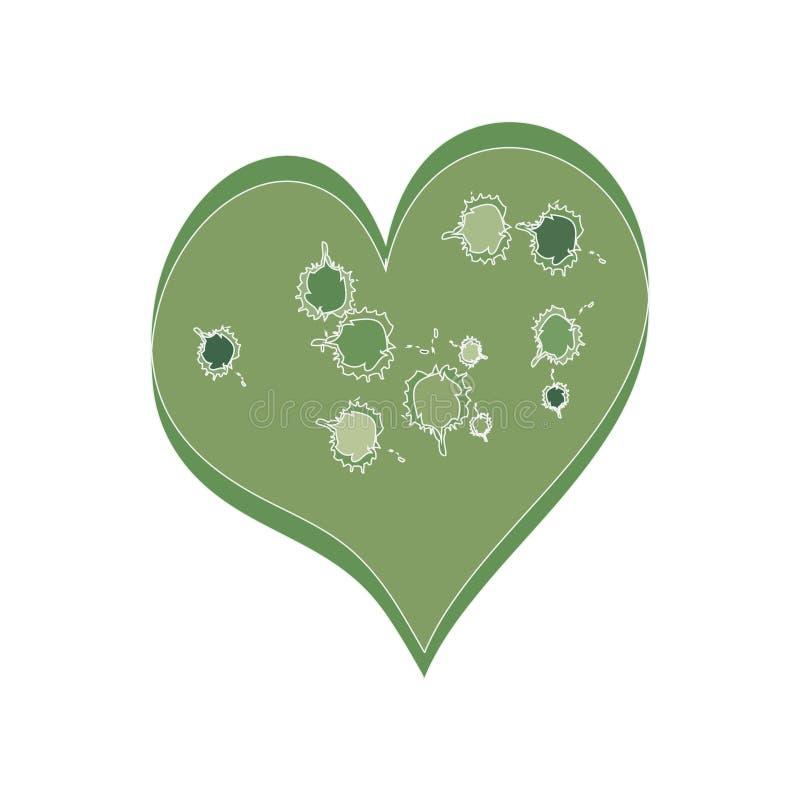 被弄脏的心脏绿色 向量例证