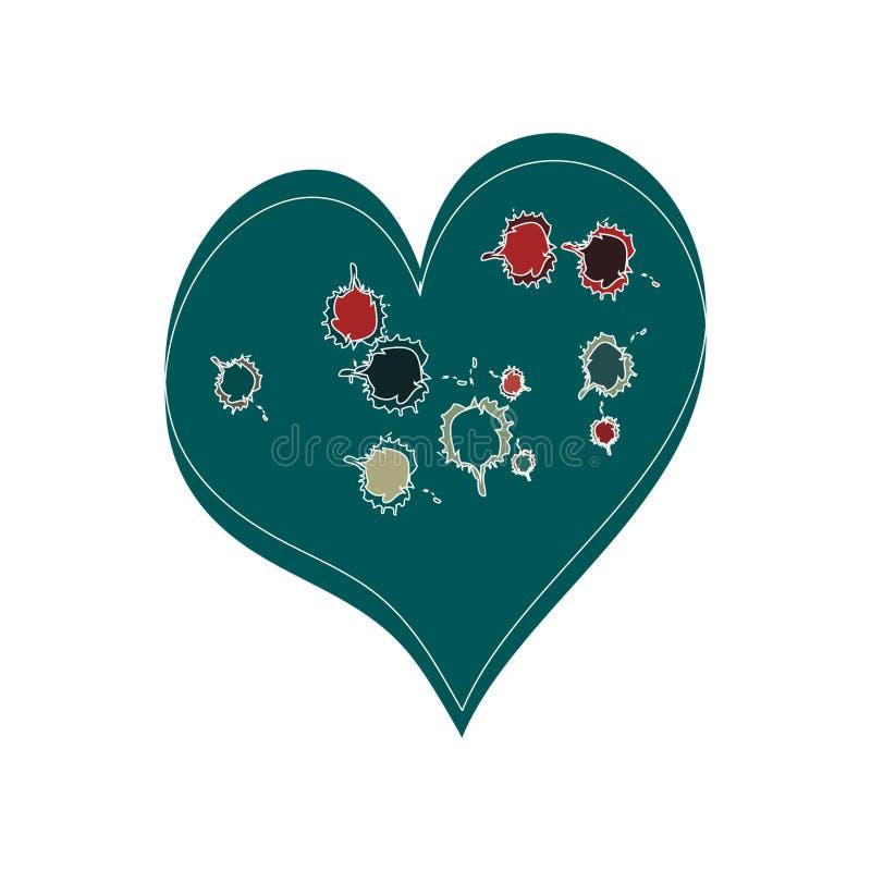 被弄脏的心脏绿色 库存例证