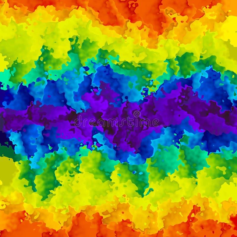 被弄脏的样式纹理背景完整色彩的彩虹soectrum水平的条纹-现代绘画艺术-水彩effe 库存例证