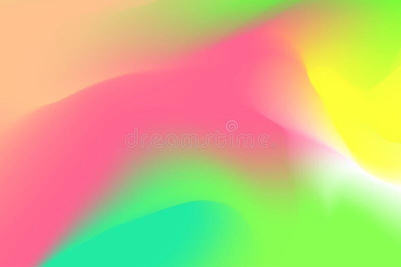 被弄脏的桃红色和绿色淡色软绵绵地挥动背景摘要的,在水彩艺术的例证梯度五颜六色的作用 皇族释放例证