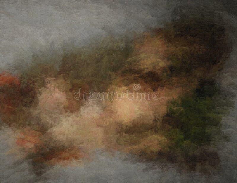 被弄脏的油漆污迹和污点色的难看的东西纹理抽象背景在织地不很细帆布 库存例证