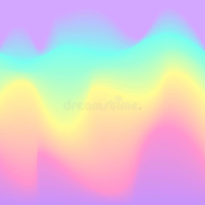 被弄脏的液体电波浪全息照相的未来派抽象软的充满活力的颜色流动混合梯度背景 库存例证
