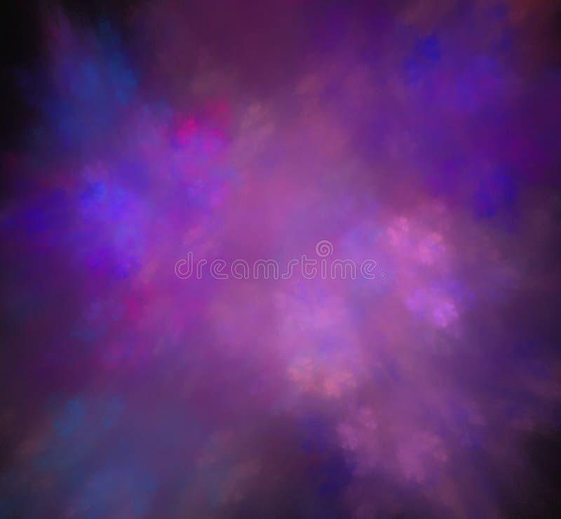 被弄脏的紫色蓝色云彩 幻想分数维纹理 abstact艺术深深数字式红色转动 3d翻译 计算机生成的图象 向量例证
