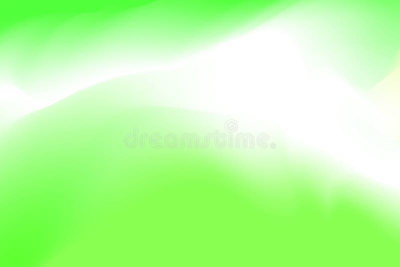 被弄脏的绿色和白色淡色软绵绵地挥动背景摘要的,在水彩艺术的例证梯度五颜六色的作用 库存例证