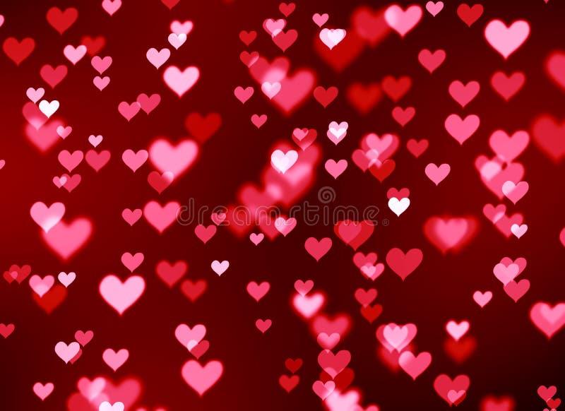被弄脏的背景bokeh红色心脏,华伦泰` s天 向量例证