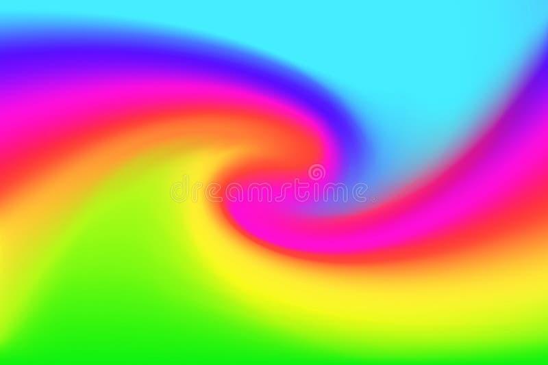 被弄脏的蓝色桃红色和绿色扭转背景的,在水彩艺术漩涡的例证梯度波浪五颜六色的作用 向量例证
