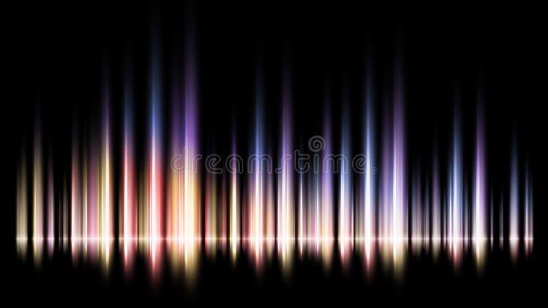 被弄脏的蓝色的抽象图象 在黑背景的白色和桃红色和黄灯与锋利的线 向量例证
