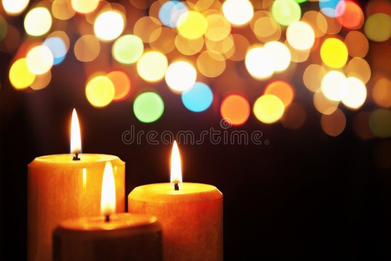 被弄脏的蜡烛圣诞灯 免版税库存图片