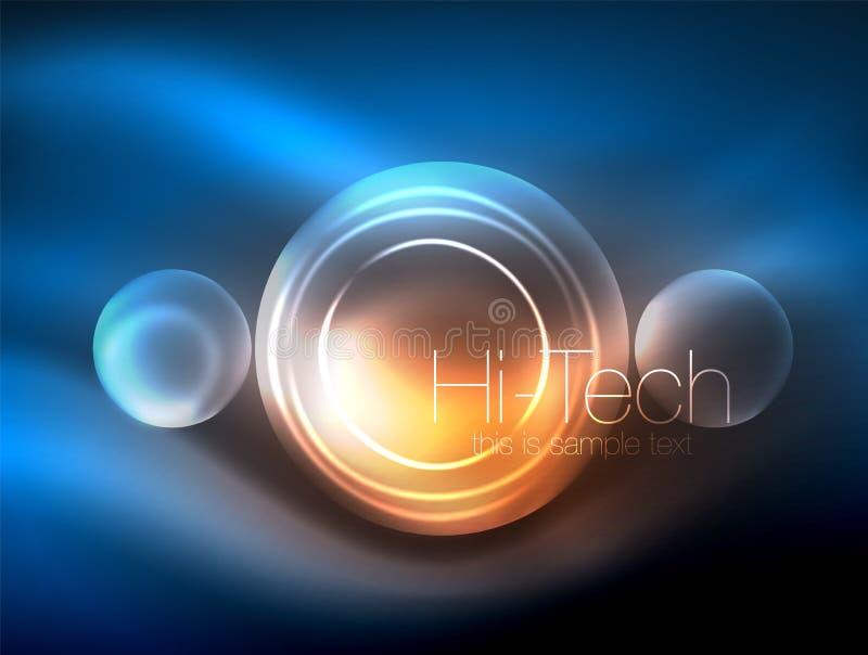 被弄脏的霓虹发光的圈子、高科技现代泡影模板、techno发光的玻璃圆形或者球形 几何 向量例证