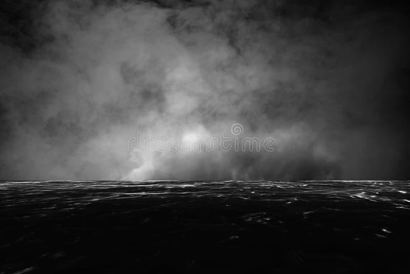 被弄脏的黑暗的水和黑暗的天空 免版税库存照片