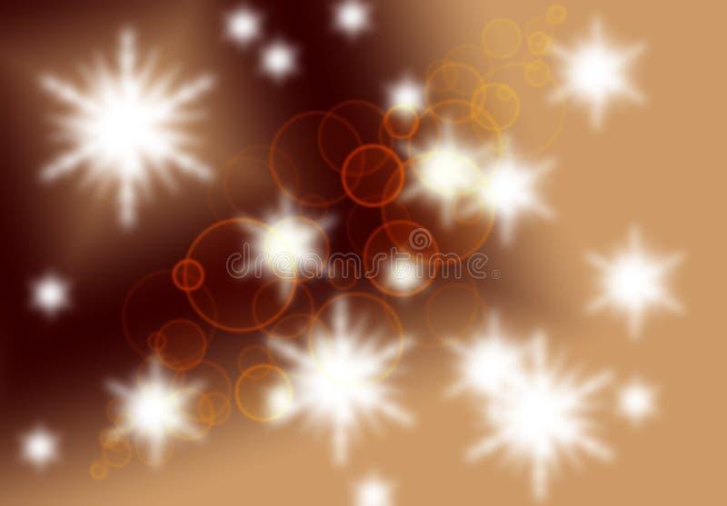 被弄脏的bokeh背景,与圈子,聚焦,光,星星系想象力,纹理的抽象棕色米黄背景 向量例证