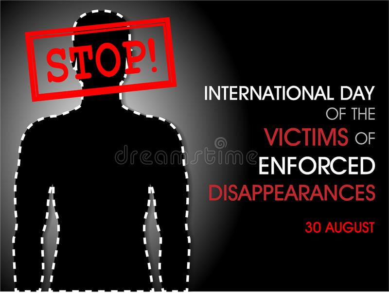 被强制执行的失踪的受害者的国际天 皇族释放例证