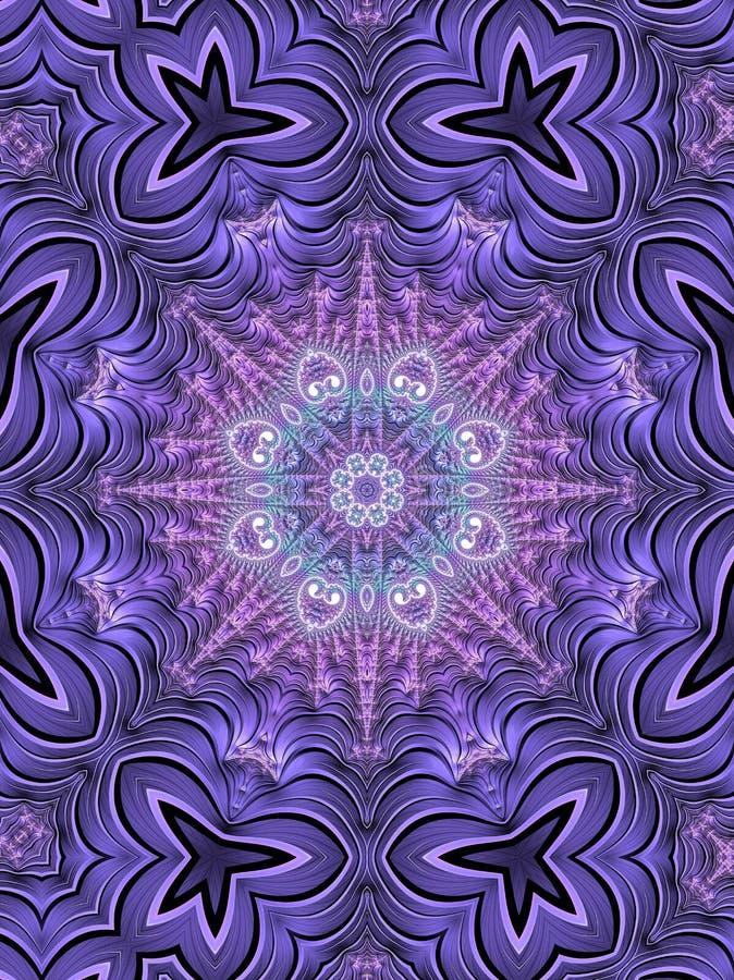 被忘记的远航紫色和绿松石万花筒分数维 库存例证