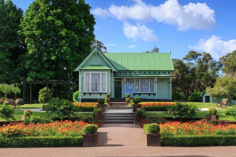 被恢复的19世纪维多利亚女王时代的别墅在罗托路亚,新西兰 库存图片