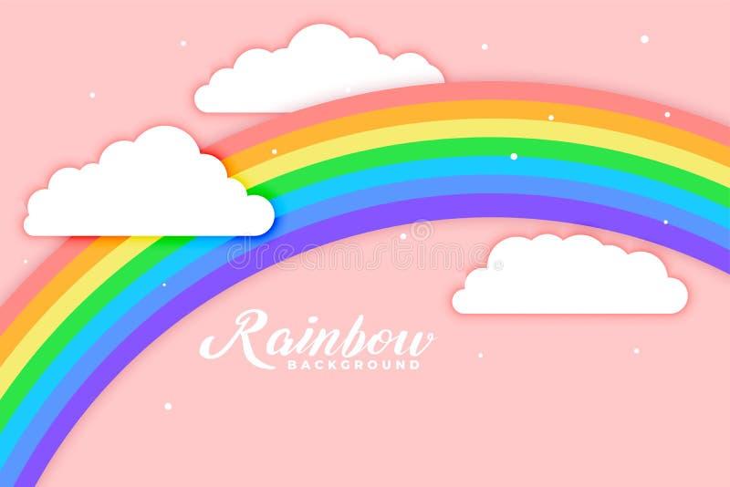 被成拱形的彩虹有云彩桃红色背景 向量例证