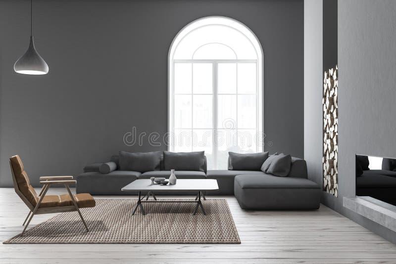 被成拱形的灰色客厅、扶手椅子和沙发 库存例证