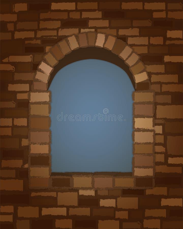 被成拱形的石窗口在罗马式样式背景中 向量 皇族释放例证