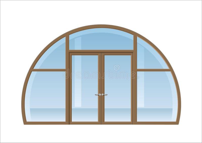 被成拱形的窗口和门 库存例证