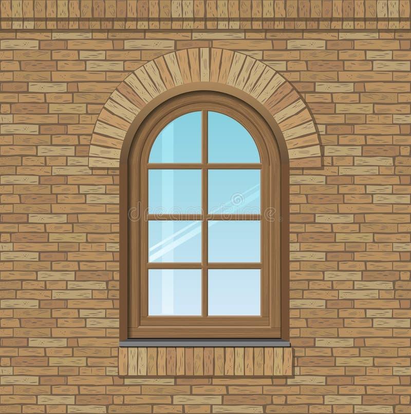 被成拱形的老窗口 皇族释放例证