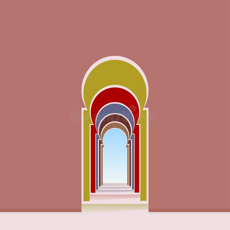 被成拱形的门道入口和走廊从清真寺 库存例证