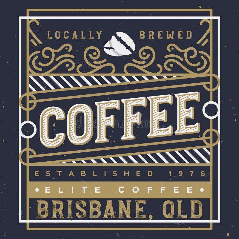 被手工造的咖啡标签传染媒介例证 咖啡标签设计模板 向量例证