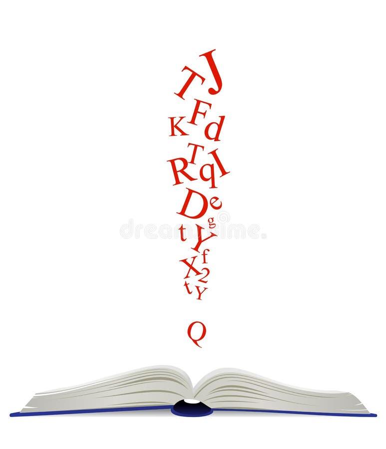 被打开的书和注意标志 库存例证
