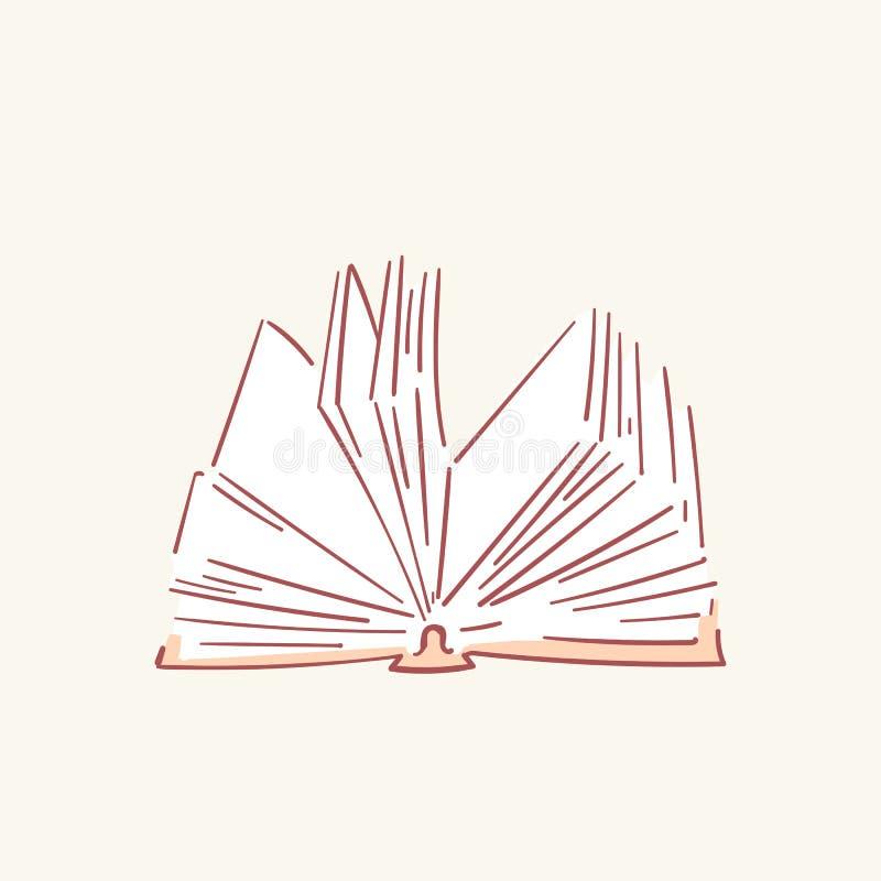 被打开的书手拉的样式传染媒介乱画设计例证 库存例证