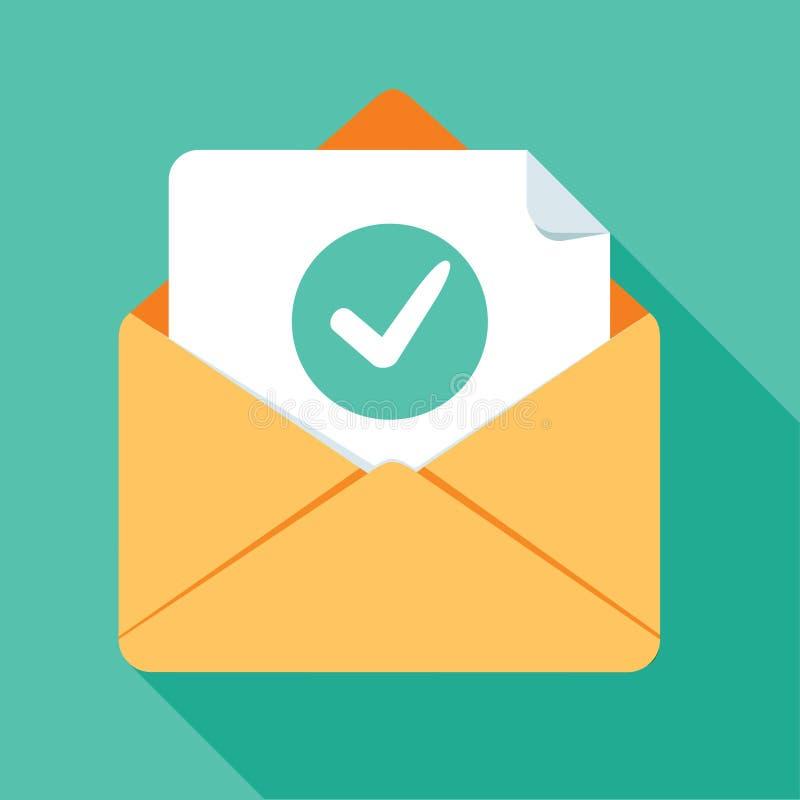 被打开的信封和文件与绿色校验标志线象 官方确认消息,顺利地被送的邮件 向量例证
