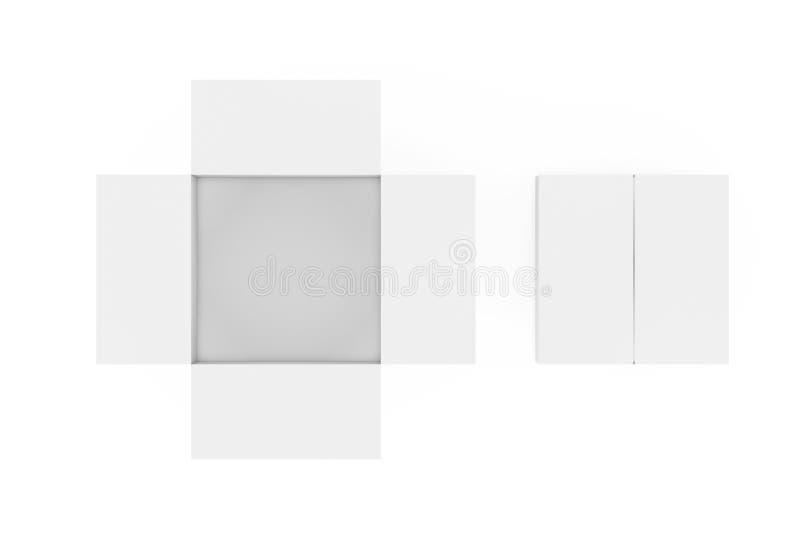 被打开的和闭合的白色空的纸板箱顶视图  3d?? 皇族释放例证