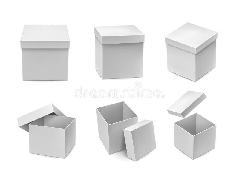 被打开的和闭合的纸板箱大模型集合 向量例证