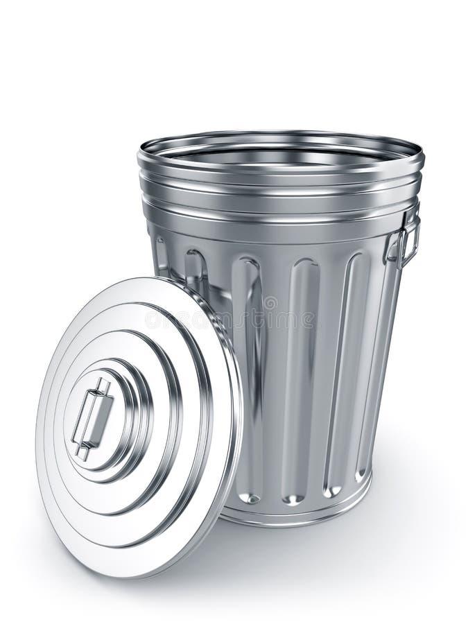 被打开的垃圾箱 库存例证