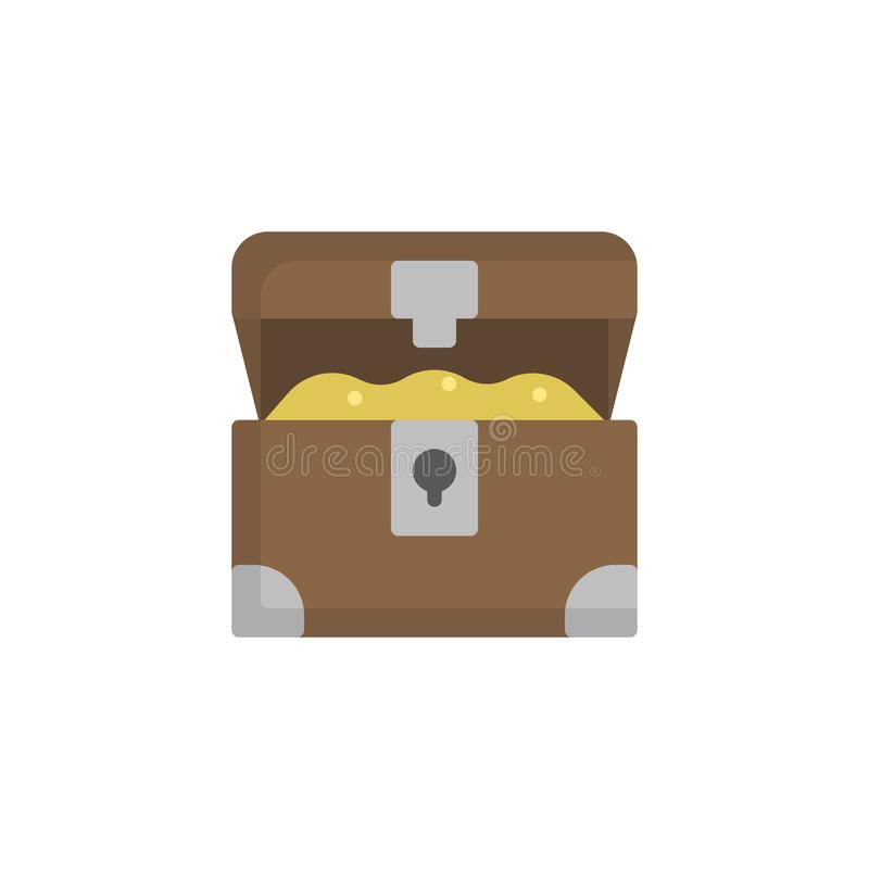 被打开的宝物箱平的象 向量例证